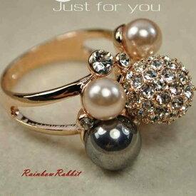 指輪 18K K18 18金 RGP ゴールド CZ ダイヤ キュービックジルコニア フラワー パール リング gu842e 誕生日 パーティ
