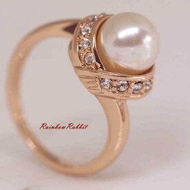 指輪 18K K18 18金 RGP ゴールド CZ ダイヤ キュービックジルコニア パール リング gu1337e お祝い ギフト