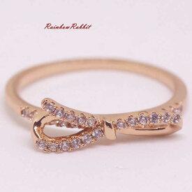 指輪 18K K18 18金 RGP ゴールド 高級 CZ 上品 リボン リング gu1374e 普通便 送料無料 高級 ダイヤ キュービックジルコニア 誕生日 記念 結婚式 夏