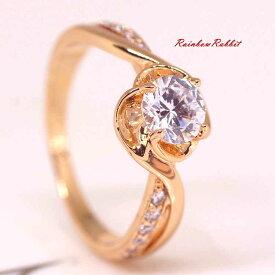 指輪 18K K18 18金 RGP ゴールド CZ ダイヤ キュービックジルコニア フラワー 一粒 リング gu1341e 誕生日 記念日結婚式 ギフト