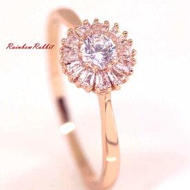 指輪 18K K18 18金 RGP ゴールド CZ ダイヤ キュービックジルコニア フラワー リング gu1336e 誕生日 記念 結婚式 夏
