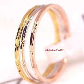 指輪 18K K18 18金 RGP ゴールド 3色 シンプル セット リング gu1332e 誕生日 記念 結婚式 夏