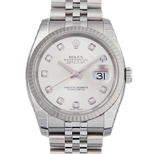 ロレックス デイトジャスト 10Pダイヤ 116234G シルバー メンズ(07NDROAN0161)【新品】【腕時計】【送料無料】