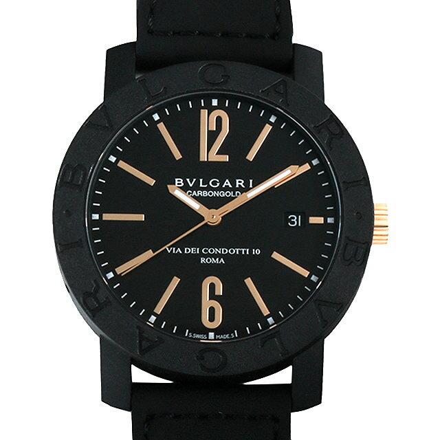 【48回払いまで無金利】ブルガリ ブルガリブルガリ カーボンゴールド BBP40BCGLD/N ブラック メンズ(0068BVAN0015)【新品】【腕時計】【送料無料】