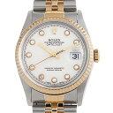 ロレックス デイトジャスト 10Pダイヤ E番 16233G ホワイト メンズ(006XROAU0498)【中古】【腕時計】【送料無料】