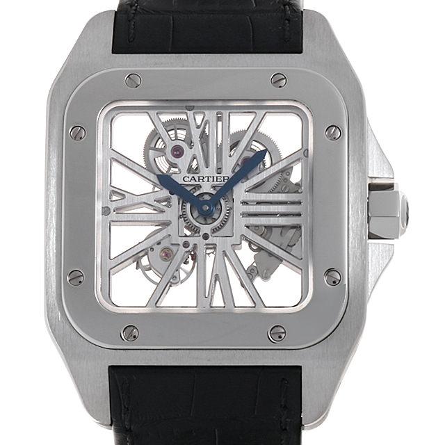 【48回払いまで無金利】カルティエ サントス100 スケルトンウォッチ XL W2020018 メンズ(006TCAAU0009)【中古】【腕時計】【送料無料】【5000円オフクーポン配布中】