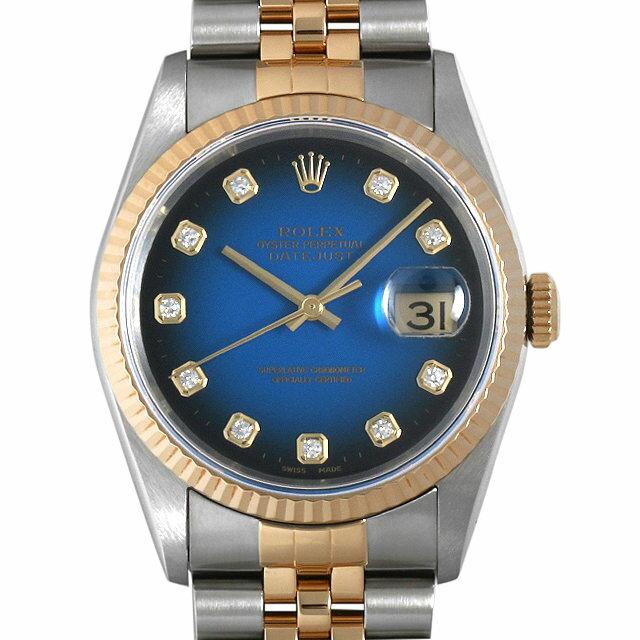 【48回払いまで無金利】ロレックス デイトジャスト 10Pダイヤ 16233G ブルーグラデーション W番 メンズ(007UROAU0511)【中古】【腕時計】【送料無料】