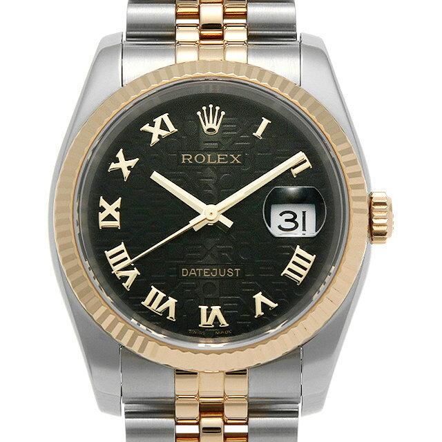【48回払いまで無金利】ロレックス デイトジャスト 116233 ブラック彫りコンピューター/ローマ D番 メンズ(0LMLROAU0001)【中古】【腕時計】【送料無料】