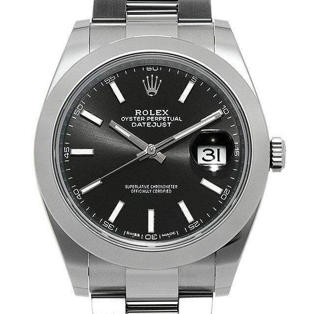 【48回払いまで無金利】ロレックス デイトジャスト41 126300 ブラック メンズ(007UROAU0598)【中古】【腕時計】【送料無料】