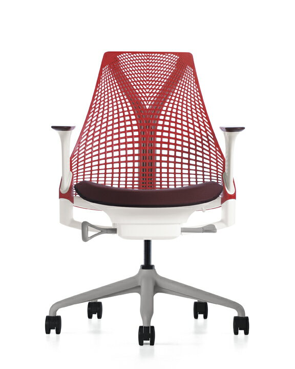 【送料無料】 Herman Miller SAYL Chair セイルチェア 高さ調節アーム フォグベース、ホワイトフレーム サスペンション:レッド アーム:マルベリー ファブリック:ルージュ ハーマンミラー正規商品