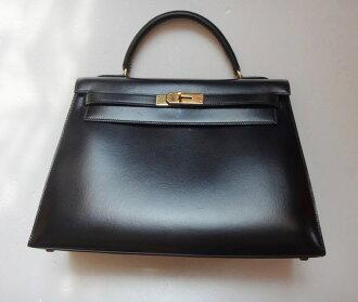 Hermes HERMES Kelly 32 handbag black tote bag h17-4039◆◆