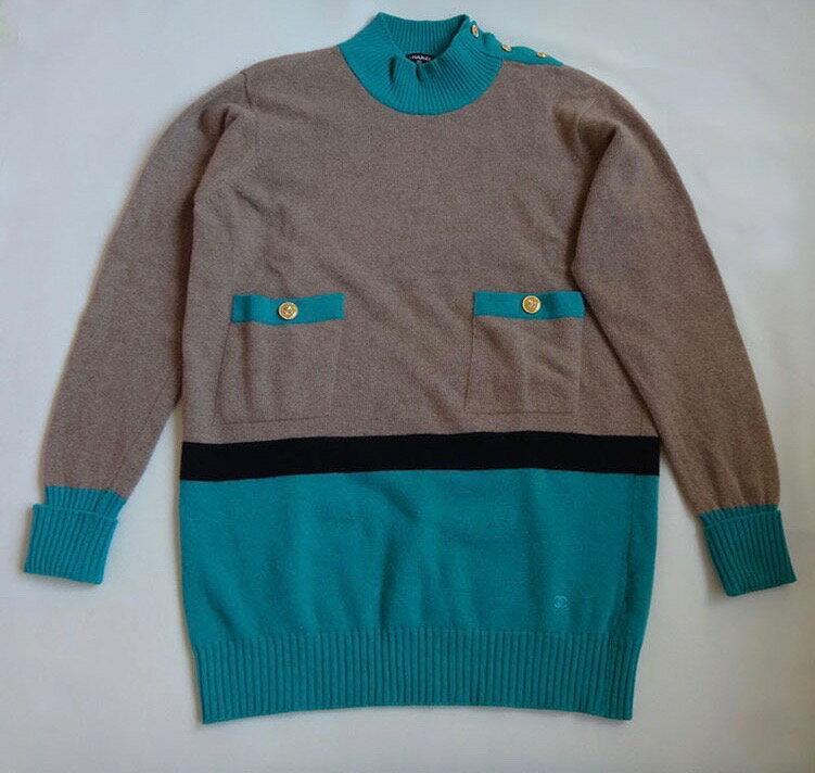 【送料無料!】CHANEL シャネル セーター ブルー×ベージュ サイズ3 カシミヤ 【中古】古着 c-003