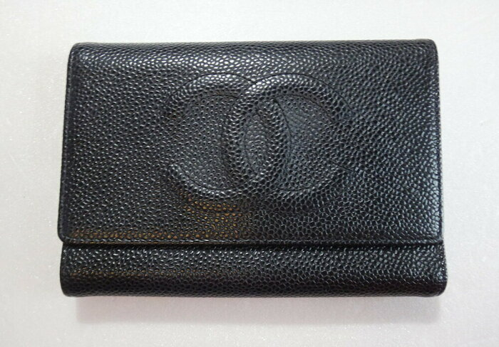 CHANEL シャネル 財布 キャビア 三つ折りサイフ 黒 レディース レザー 小銭入れあり ブラック ブランド キフト【中古】c-002 c81-5152 本物
