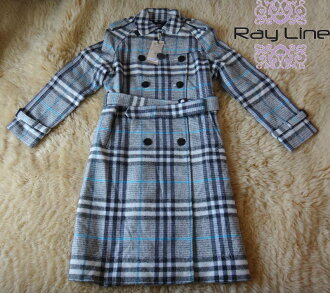 t-003 △△ t1000921 with the Burberry Burberry lady's long trench coat check blue system tag◆◆