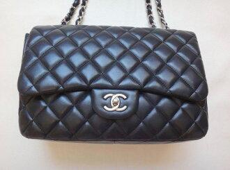 CHANEL Chanel Jumbo Classic 30 chains shoulder bag lambskin black Lady's shoulder bag c16-3515◆◆
