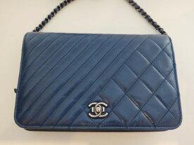 b8155fc70dd7 CHANEL シャネル Wステッチ ボーイシャネル チェーンウォレット 財布 ショルダーバッグ マトラッセ レザー ネイビー レディース 鞄