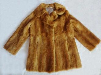 Moon Bat Fur MINK貂皮毛皮短大衣棕色13号旧衣服kt-003