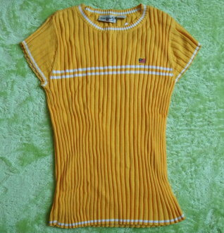 10%OFF Polo RalphLauren polo Ralph Lauren yellow short sleeves knit small size old clothes t-003