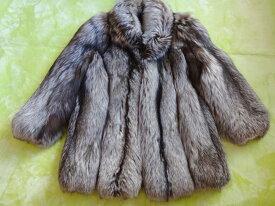 50%OFF 毛皮コート FOX フォックス レディースコートシルバー系 サイズ11 古着 防寒 暖かい アウター上品 大人 冬物 オーバーサイズ 【中古】t-003 00 t1002284