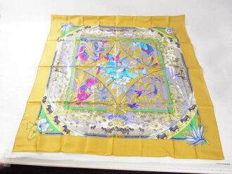 HERMES Hermes scarf boyfriend 88*88 yellow silk h16-3090◆◆