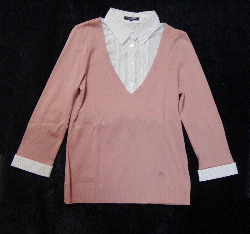 美品 バーバリー シャツ Burberry バーバリー シャツ 重ね着風 ピンク サイズ2 古着【中古】y17-4489◆◆