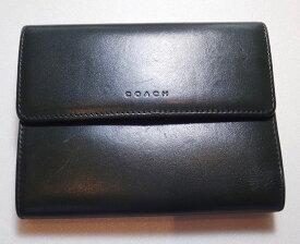 bc20a425a386 中古 COACH コーチ 二つ折り 財布 がま口小銭入れ有 グリーン系【中古】t-002