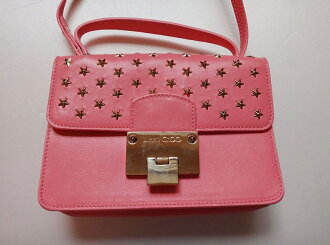 JIMMY CHOO ジミーチュウスタッズピンクレザー 2Way shoulder bag handbag beauty product t-002 t17-4325◆◆