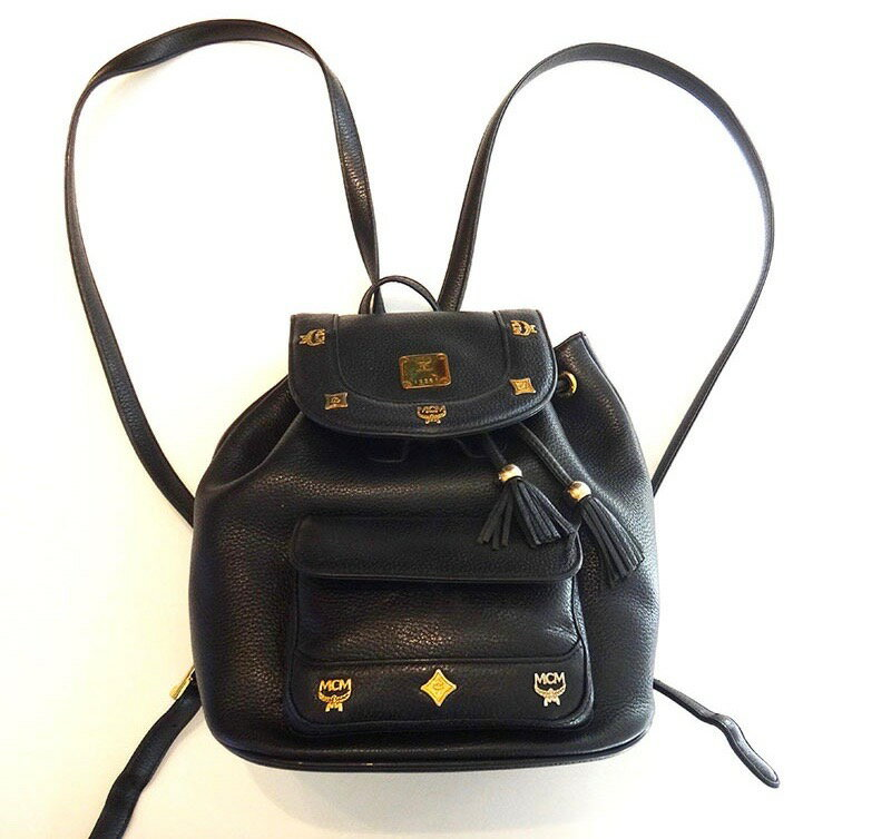 MCM エムシーエム リュックサック バッグ 黒 レザー バックパック【中古】 t17-4374◆◆