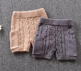 キッズ ファッションニットショートズボン オシャレ毛糸ショートズボンビギナー購入可 80〜120サイズ 新品未使用品 t-030△△w7633