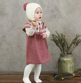 キッズファッション キッズニットワンピース カジュアル 60-100 全2色 新品未使用品 t-003△△w10293
