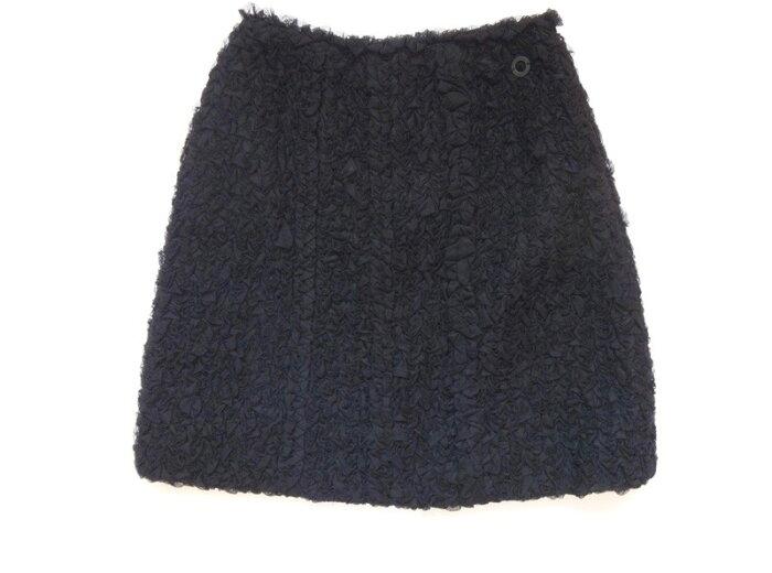 美品 CHANEL シャネル スカート サイズ36 黒 ひざ丈 古着【中古】c-003 00 c17-4541
