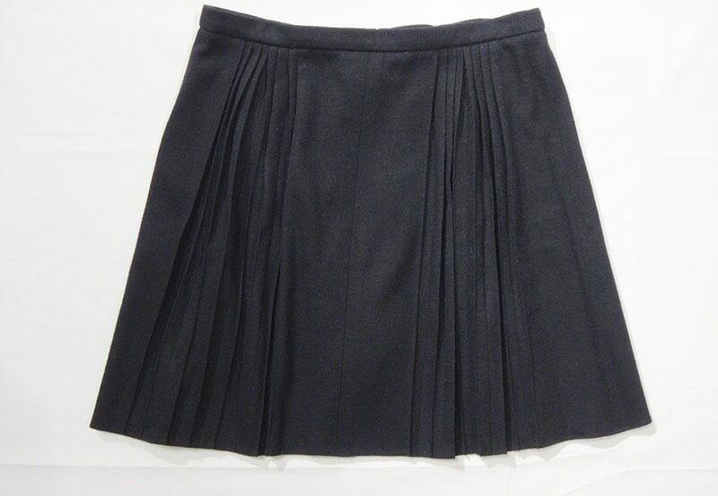 CHANEL シャネル スカート サイズ38 M レディース 黒 プリーツ ウール混 古着 【中古】c-003