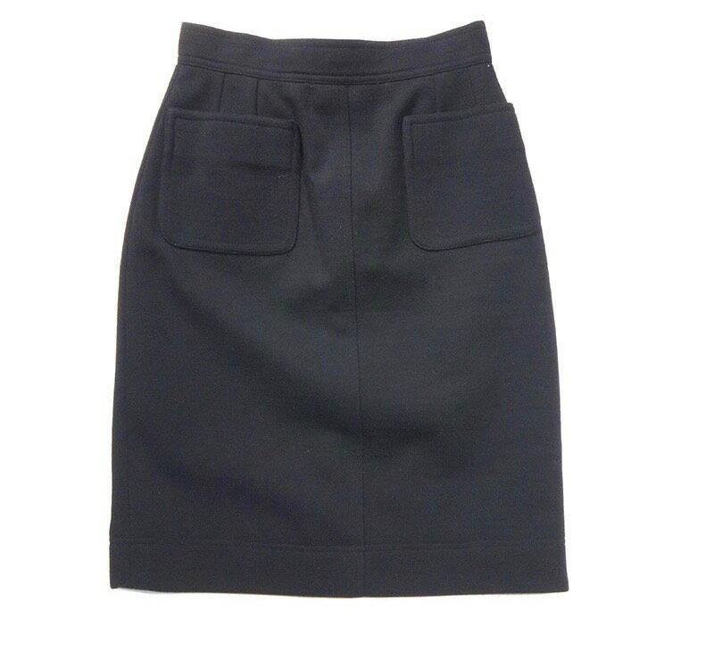 CHANEL シャネル スカート ペンシルスカート サイズ34 レディース 黒 ウール 古着 【中古】c-003