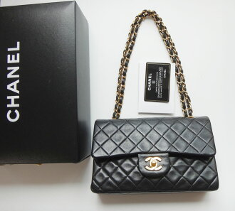 Point double Chanel matelasse 23W flap lambskin black gold metal fittings Lady's chain shoulder bag bag bag bag genuine article brand present HANEL ◆◆ c81-5184