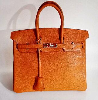 Super beautiful article HERMES Hermes Birkin handbag 25 シェーブルオレンジブランドバッグ BAG genuine article brand present ◆◆ h81-5056