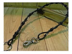 牛革ウォレットチェーン ◆レザーウォレットチェーンです。有刺鉄線のように革を繋いでいます。カッコいいです。【本革製品/革小物/牛革】