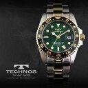 送料無料!ベルト調整器付!TECHNOS テクノスGMT 限定モデル メンズ 腕時計 T2134TG