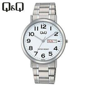 【全国送料無料/代引き不可】[シチズン キューアンドキュー]CITIZEN Q&Q 腕時計 スタンダード アナログ ブレスレット 日付 曜日 表示 ホワイト A202-204 メンズ★チープシチズン チープカシオ 最安値
