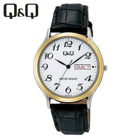 【全国送料無料/代引き不可】[シチズン キューアンドキュー]CITIZEN Q&Q 腕時計 スタンダード アナログ 革ベルト 日付 曜日 表示 ホワイト A204-504 メンズ ★チープシチズン チープカシオ 最安値