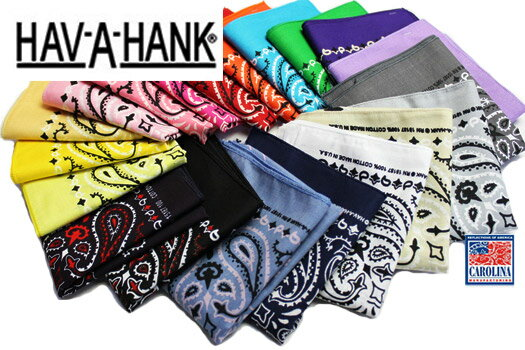 ハバハンク HAV A HANK / MADE IN U.S.A. ペイズリーバンダナ PAISLEY BANDANNA (54cm×54cm) Color No,1〜20 全28色