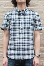 New England Shirts Company(ニューイングランドシャツカンパニー)別注MADRAS PLAID POP OVER B.D S/S SHIRTS(COLOR : WHITE / BLUE / BLACK)【05P03Sep16】