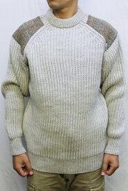 "COMMANDO ""The Niffi ECOSSE"" GAMEKEEPER CREW NECK SWEATER with Harris Tweed クルーネック セーター ウール メンズ リブ 長袖 ハリスツイード ショルダーパッチ Light Grey Welsh グレー XS-M"