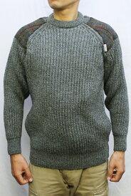 "COMMANDO ""The Niffi ECOSSE"" GAMEKEEPER CREW NECK SWEATER with Harris Tweed クルーネック セーター ウール メンズ リブ 長袖 ハリスツイード ショルダーパッチ Derby Tweed グリーン XS-M"