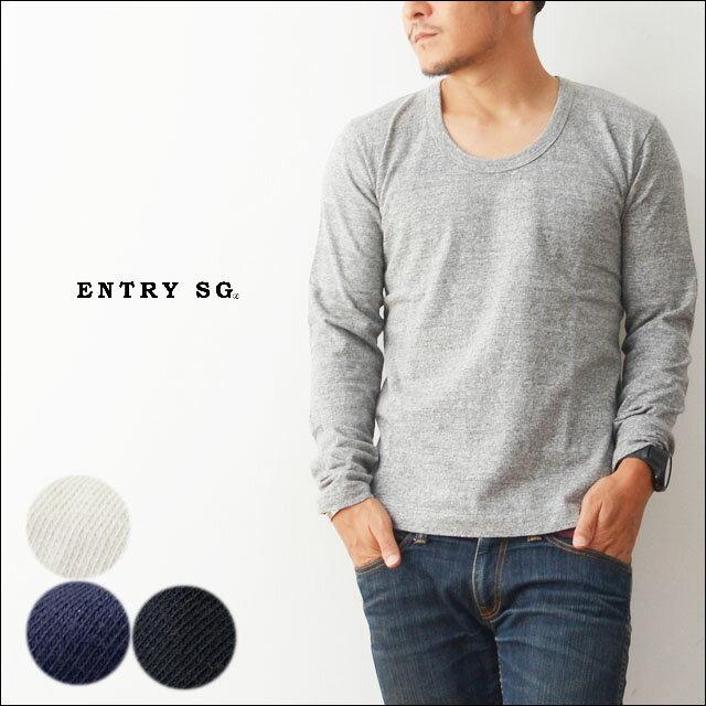 ENTRY SG[エントリーセスジー] HALO PLUS 【T161UB】PLUS [ハロプラス] ロングスリーブUネックTシャツ・長袖Tシャツ [MEN'S] ミリタリーTシャツのような、男臭さのある、吊り編Tシャツ