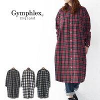 Gymphlex[ジムフレックス]60/2ビエラ起毛チェックB.D.LONGSHIRTS[J-1176VHC]ロングチェックシャツ・シャツワンピース・チェックワンピースLADY'S