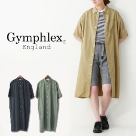 ◯PRE SALE 10%OFF◯Gymphlex [ジムフレックス] T/C BROAD S/S SHIRT ONE PEACE [J-3814 ECT] リネン クロス ロングスリーブ ワンピース・バンドカラー・シャツワンピース・ビッグシルエット・ LADY'S [2021SS]