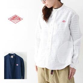 ◯PRE SALE 20%OFF◯DANTON [ダントン] W's L/S LINEN CLOTH NO COLLAR SHIRTS [JD-3606KLS] ノーカラーシャツ・長袖バンドカラーシャツ・長袖綿シャツ・シャツ・レディース・女性用・婦人服・LADY'S