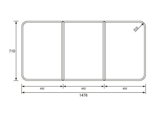 パナソニック Panasonic(松下電工 ナショナル) 風呂ふた(ふろふた フロフタ) 組みふた GK91F04SC (GK91F04Sの代替品) 710×1476mm