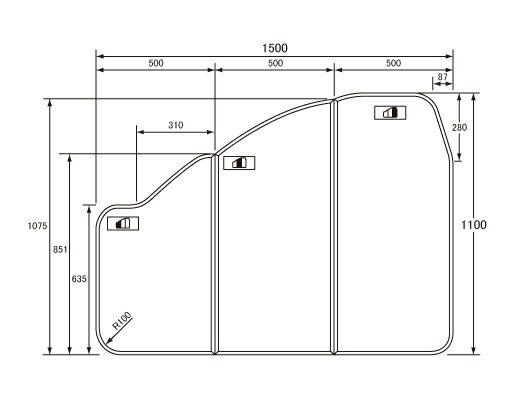 パナソニック Panasonic(松下電工 ナショナル) 風呂ふた(ふろふた フロフタ) 組みふた GKU76KF8U2L 1100×1500mm