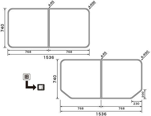 パナソニック Panasonic(松下電工 ナショナル) 風呂ふた(ふろふた フロフタ) 組みふた RLA74KF91 740×1536mm